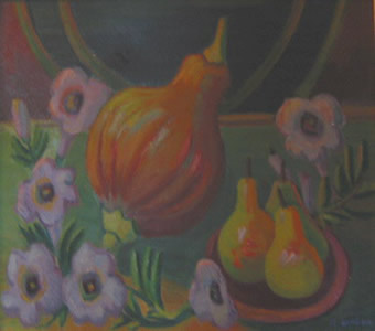 Pumpkin, Pears and Flowers